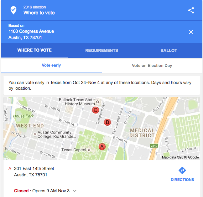 Use Google to find your Polling Locations