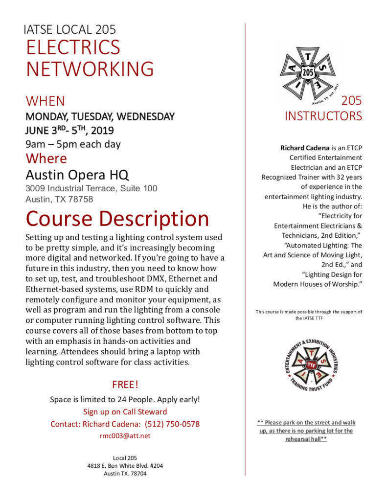Official flyer for Electrics Networking Course
